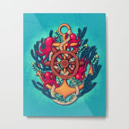 Anchor and Octopuses Metal Print