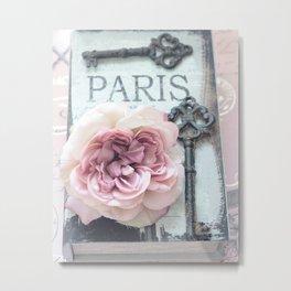 Paris Roses Skeleton Key Art  Metal Print