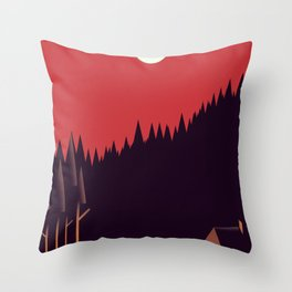 A Cabin in the Wood Throw Pillow