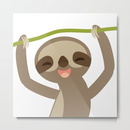 funny and cute smiling Three-toed sloth on green branch Metal Print