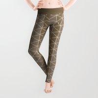 grid Leggings featuring Grid Brown by BlueLela