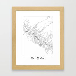 Honolulu White Map Framed Art Print