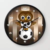 soccer Wall Clocks featuring Soccer Owl by Simone Gatterwe