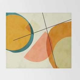 mid century geometric shapes painted abstract III Throw Blanket