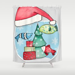 Christmas Fishes Shower Curtain