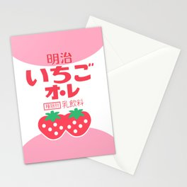 kawaii japanese strawberry milk Stationery Cards