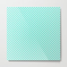 Bright Turquoise Polka Dots Metal Print