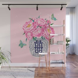 peony bouquet in ginger jar/pink Wall Mural