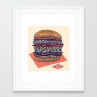 burger Framed Art Prints featuring burger by mr. louis