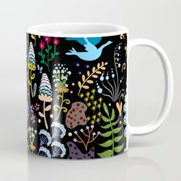 Seamless pattern with bright multicolored decorative flowers on a black background Coffee Mug