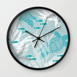 Sea Turtles & Starfish with Kelp in Blues Wall Clock