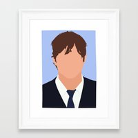 jenna kutcher Framed Art Prints featuring Ashton Kutcher Digital Portrait by RoarsAdams