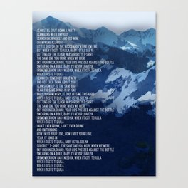 Tequila Song Lyric Art Inspired by Dan + Shay Canvas Print