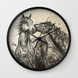 Kiss_Charcoal drawing vintage paper Wall Clock