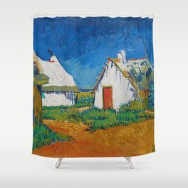 Three White Cottages In Saintes Maries By Vincent van Gogh Shower Curtain