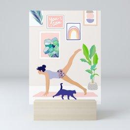 Girl Power Yoga pose Mini Art Print