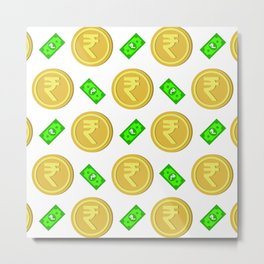 Rupee pattern background. Metal Print