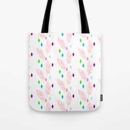 Geometric bohemian pink green teal modern feathers Tote Bag