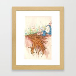 In the garden of Live Flowers Alice took root Framed Art Print