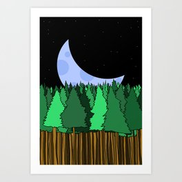 Moonset over the Forest Art Print