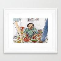 korean Framed Art Prints featuring Korean Ajuuma by Obachan Style