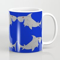 sharks Mugs featuring Sharks by superdumb