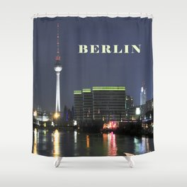 Night at river Spree in BERLIN Shower Curtain
