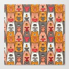 Boho Bear Love Pattern Canvas Print