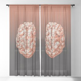Puzzle brain GINGER / Your brain on puzzles Sheer Curtain
