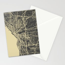Cleveland map yellow Stationery Cards