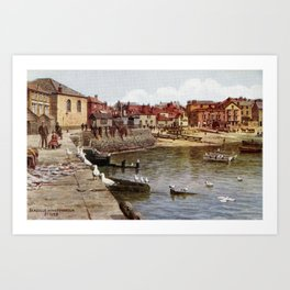 Aquarelle St Ives Cornwall Seagulls in the harbour Art Print