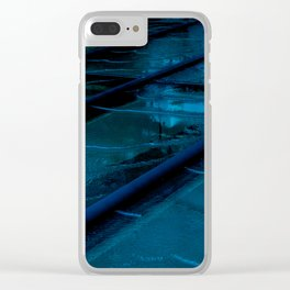 Blue Glass Waterfall Clear iPhone Case