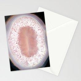 Druze agate, quartz, crystal stone pink beige black Stationery Cards
