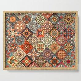 Vintage patchwork with floral mandala elements Serving Tray