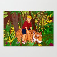 hobbes Canvas Prints featuring Calvin & Hobbes by Miss Pepper Cat