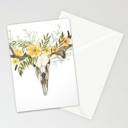 Bohemian deer skull and antlers with flowers Stationery Cards