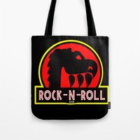 rock n roll Tote Bags featuring Rock n Roll lives! by Los Espada Art