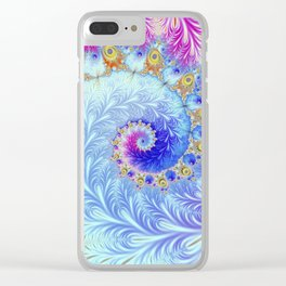 Pink Ice Spiral Fractal Clear iPhone Case