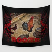 rooster Wall Tapestries featuring Rooster by Justin Alan Casey
