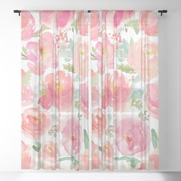 Pink Peonies Watercolor Pattern Sheer Curtain