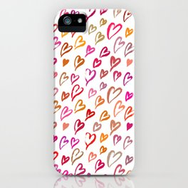 Colourful hearts seamless pattern iPhone Case