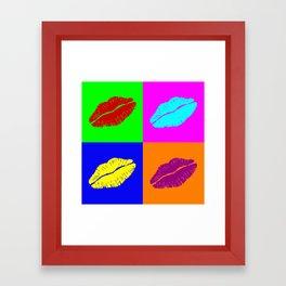 Colorful pop art lipstick kiss Framed Art Print