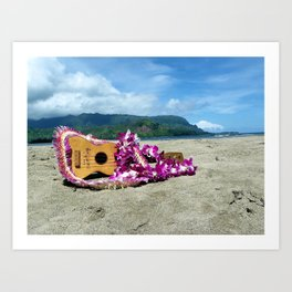 Ukulele at the bay Art Print