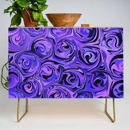Blue Violet & Black Paint Rose Swirls Credenza