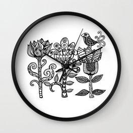 Flowerbird Wall Clock