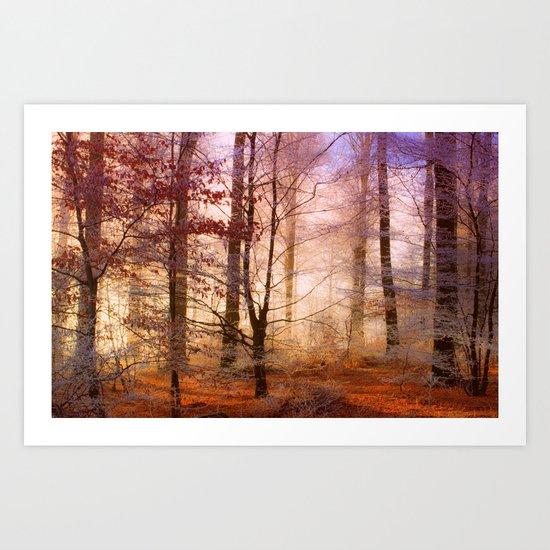 ORANGE FOREST FLOOR Art Print