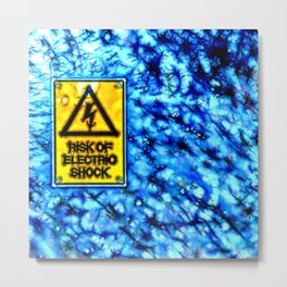 Abstract electric shock risk sign Metal Print