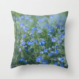 blue flowers. Germander Speedwell. Throw Pillow