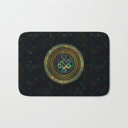 Marble and Abalone Endless Knot  in Mandala Decorative Shape Bath Mat
