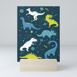 Space Dinosaurs in Bright Green and Blue Mini Art Print